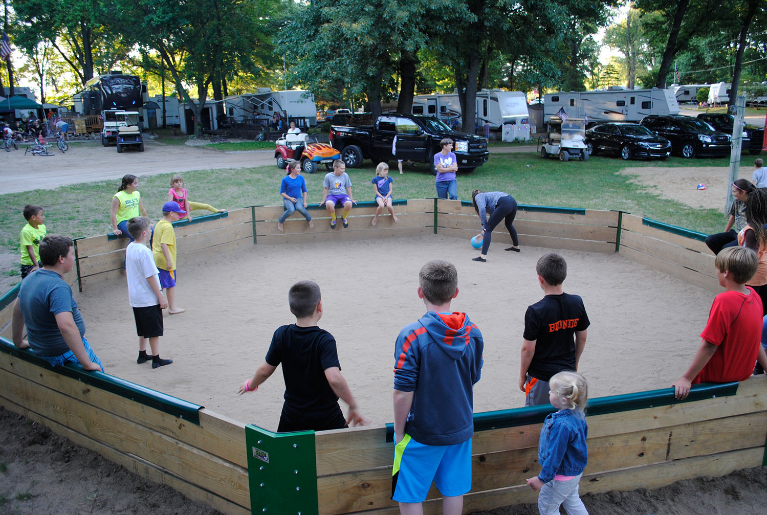 kids playing gagaball at Gateway Park Campground